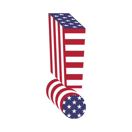 Letter exclamation point from 3d with American flag texture wrapped. Volume USA font Illustration