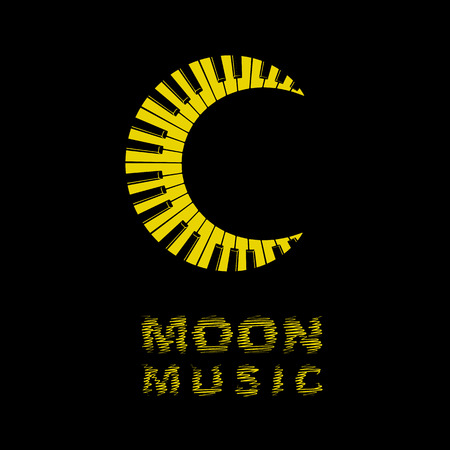 Moon logo as piano keyboard icon, simple style