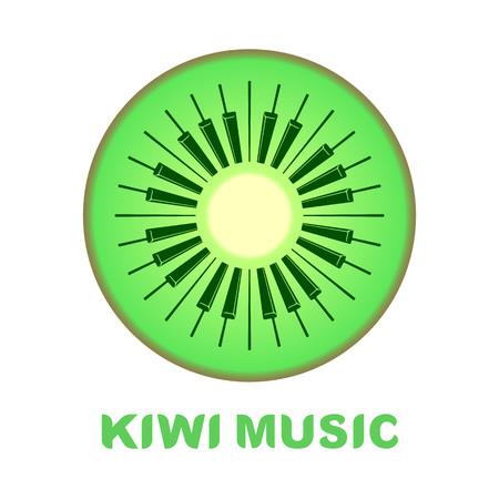 analogy: Music logo piano as kiwi fruit icon colorful Stock Photo