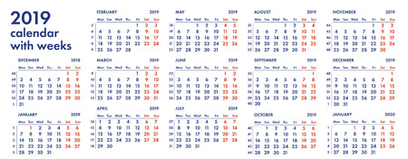 2019 calendar grid with weeks and numbers vector illustration isolated on white background.