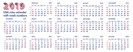 2019 calendar grid american rules with weeks numbers. Vector Illustration