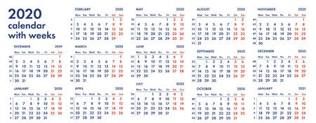 Calendario De Semanas.Rejilla Del Calendario 2019 Con Ilustracion Del Vector De Las