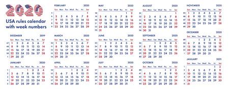 2020 calendar grid. Banco de Imagens - 86628208