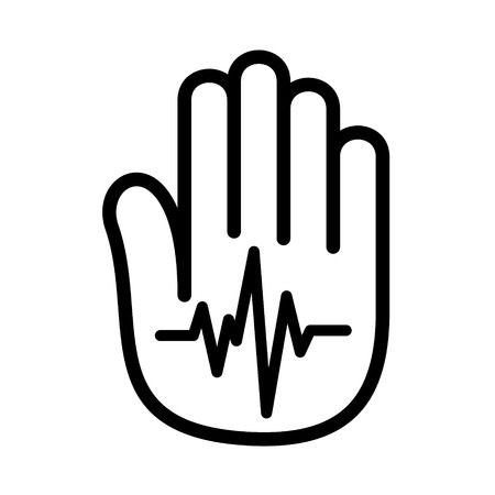 Hand open palm heartbeat pulse icon Illustration