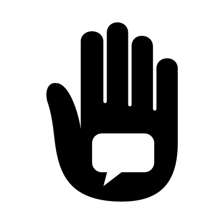 Hand open palm speaking bubble talk icon