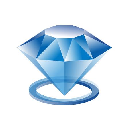 Diamond ring logo. Blue crystall symbol. Jewelry shop sign. Vector illustration of diamond ring for print or web design. Illustration