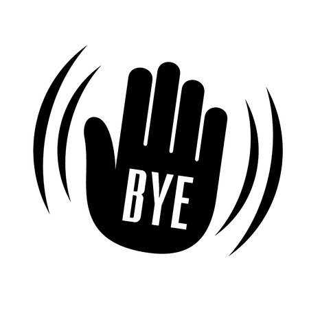 hi five: Bye waving hand palm logo icon. Simple sign of forgiving bye waving hand palm vector illustration for print or web design.