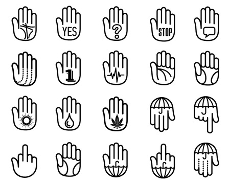Human hand open palm icons set. Outline style. Different hands with gestures, signals and signs illustration for print or web design.