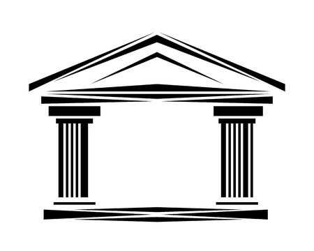 Roman classical arch icon facade ionic icon. Simple illustration of arch with columns and copy space icon for web or print design.