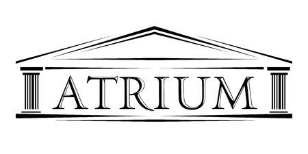 アトリウムの屋根付き柱廊玄関の古典的なアーチ ベクトルのアイコン。手紙アトリウム正面イオン アイコンとローマの古典的なアーチ。シンプルな