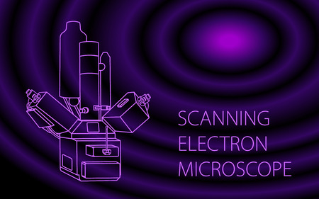 Scanning electron microscope vector colorful bammer illustration. Modern equipment for a physical laboratory for the study of the nano-world. Isolated illustration for web or print design.