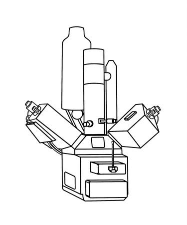 Microscope outline illustration  イラスト・ベクター素材