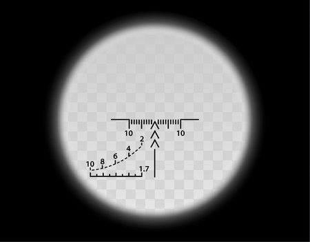 View through the optical sight scale. Military weapon view vector illustration. Circle frame with blurred edge of transparent lense. Graduated reticle cross hair measuring range finder. Illustration