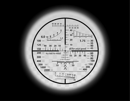 Optical sight crazy scale set. Sniper weapon view vector illustration. Military circle fun frame with blurred edge of transparent lense. Graduated reticle cross hair measuring range finder.