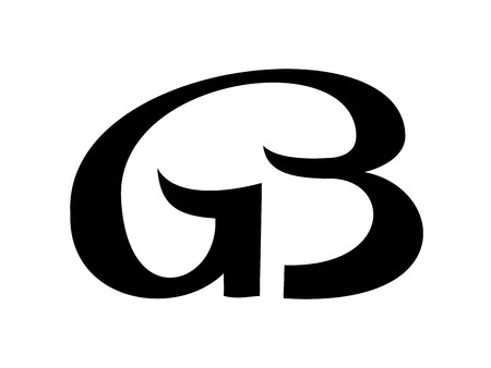 Simple Elegant Line Art : Monogram from linked letters g and b vector logotype simple