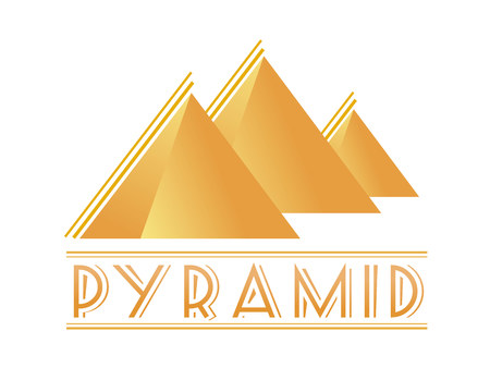 Egyptian pyramids vector logotype. Simple yellow tetrahedron for logo. Vector illustration Egypt style icon for web or print design.