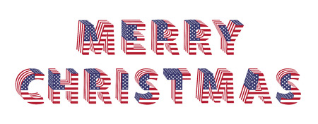 Merry Christmas text in  3d letters with American flag designs.