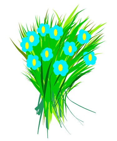 Flower children primitive drawing. Colorful bouquet isolated image for web or print design. Illustration