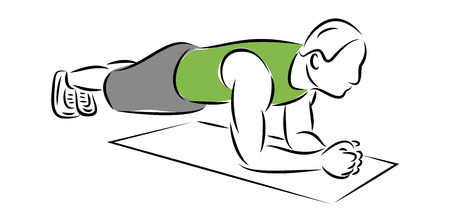 Making perfect body with the plank exercise vector illustration. Man in gym spline position vector image for web or print.  イラスト・ベクター素材