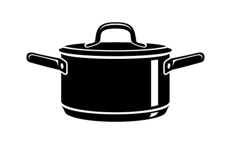 Frying hot saucepan cook pan icons. Simple illustration of frying hot saucepan cook pan vector icon for web 일러스트