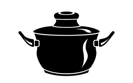 Frying hot saucepan cook pan icons. Simple illustration of frying hot saucepan cook pan vector icon for web Illustration
