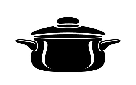 Frying hot saucepan cook pan icon. Simple illustration of frying hot saucepan cook pan vector icon for web Illustration