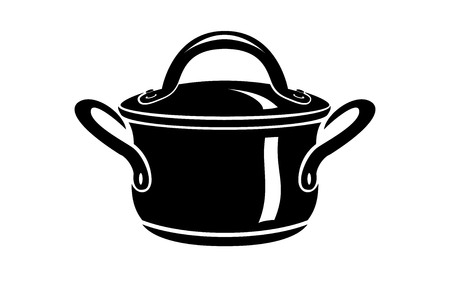 Saucepan for cook hot dishes icon. Simple illustration of saucepan for cook hot dishes vector icon for web Illustration