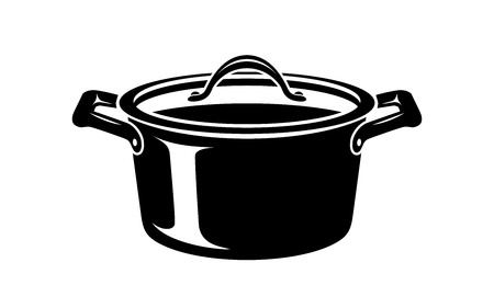 Frying hot saucepan cook pan icon. Simple illustration of frying hot saucepan cook pan vector icon for web