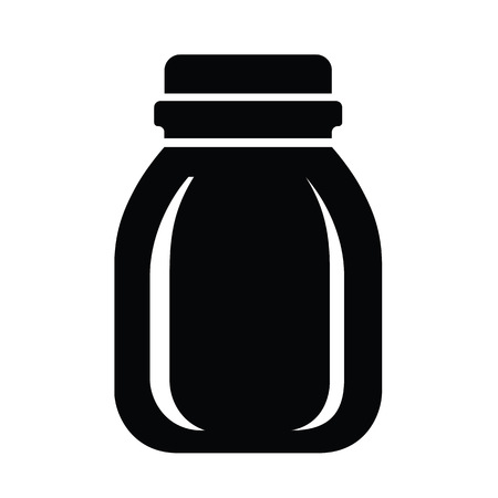 Glass jar for jam or honey icon, simple style