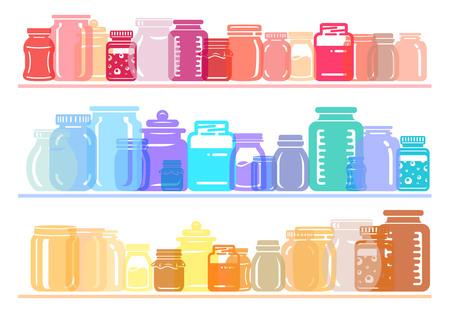 Jar glass for jam or honey colorful shelf collection Simple illustration of jar set. Colorful flat transparency light vector illustration for web or print design.