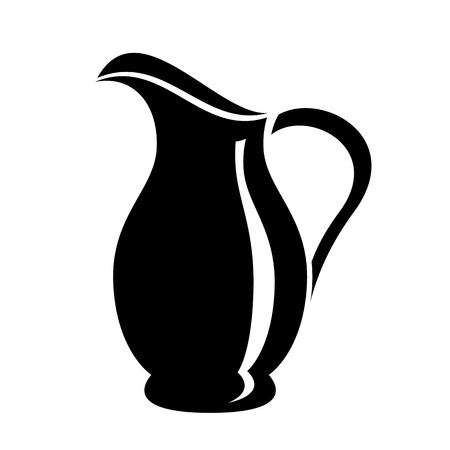 Jug for milk or water canister. Simple icon of pitcher logo vector illustration for web or print design.