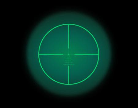Kijk door de optische zichtschaal. Nachtzicht stijl van militaire wapen weergave vectorillustratie. Cirkelframe van transparante lens. Gegradueerde dradenkruis meetafstandsmeter.