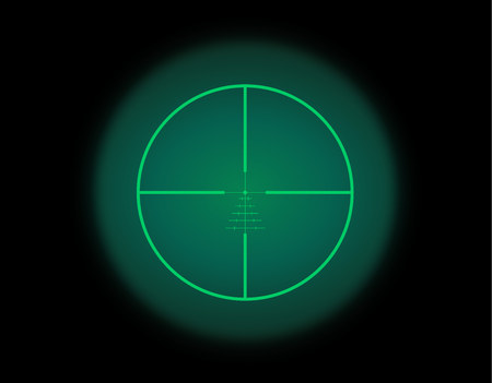 View through the optical sight scale. Night vision style of military weapon view vector illustration. Circle frame of transparent lense. Graduated reticle cross hair measuring range finder.