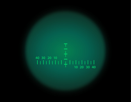 View through the optical sight scale. Night vision style of military weapon view vector illustration. Circle frame of transparent lense. Graduated reticle cross hair measuring range finder. 일러스트
