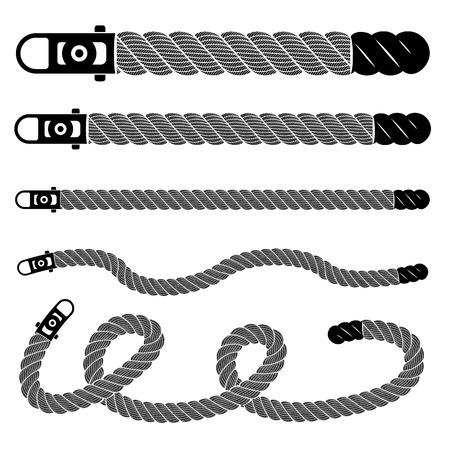 Conjunto de encaje de tejido realista de cuerda. Ilustración simple de cordón de tejido detallado realista aislado en blanco colección de vectores para diseño web o impresión Ilustración de vector