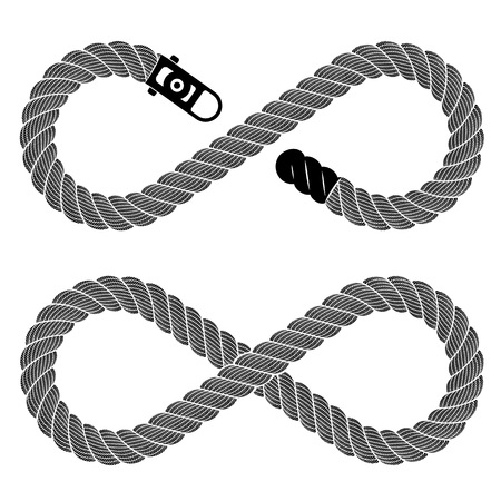 Symbol of infinity from detailed rope lace. Simple illustration of infinity sign from detailed rope lace isolated on white eight vector image for web or print design