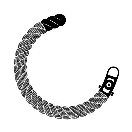 Rope realistic weaving semicircle. Simple illustration of rope realistic detailed weaving semicircle isolated on white vector for web or print design
