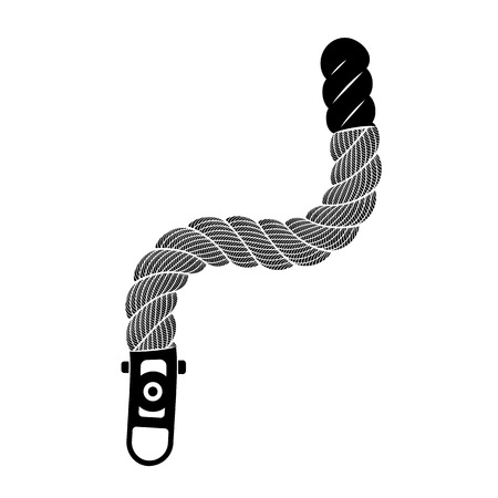 Rope realistic weaving zigzag. Simple illustration of rope realistic detailed weaving zigzag isolated on white vector for web or print design