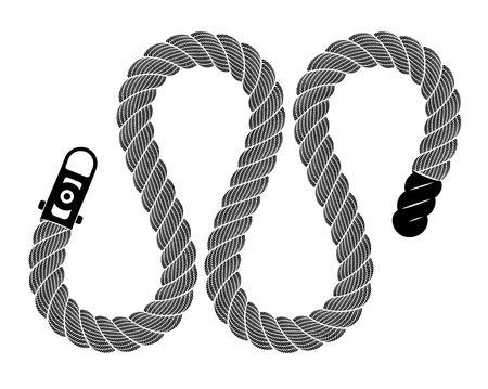 Rope realistic weaving lace loop. Simple illustration of rope realistic detailed weaving lace loop isolated on white vector for web or print design Vectores