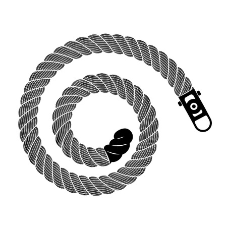 Rope realistic weaving spiral loop. Simple illustration of rope realistic detailed weaving lace loop isolated on white vector for web or print design