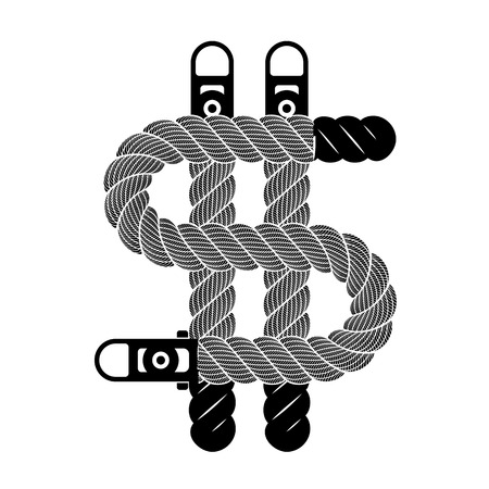 Dollar sign from rope weaving loop icon. Simple illustration of dollar symbol from rope line loop icon isolated on white vector for web or print design Vectores