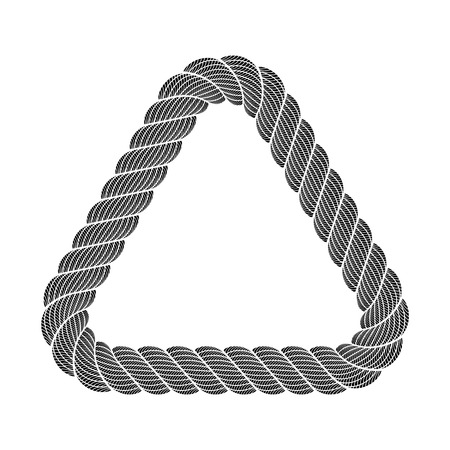 Triangle black frame border from rope weaving. Simple illustration of triangle black frame border from rope weaving isolated on white vector for web or print design