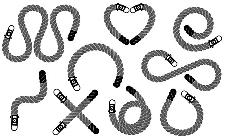 Rope realistic weaving figure loop set. Simple illustration of Rope realistic weaving figure loop set isolated on white vector for web or print design