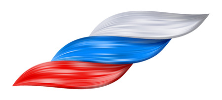 Russia flag as realistic hair swirl. Color flow splash. Detailed volume wave isolated. Paint from liquid brush. Colorful hair stairs plaited in pigtail. Vector illustration for print or web design.