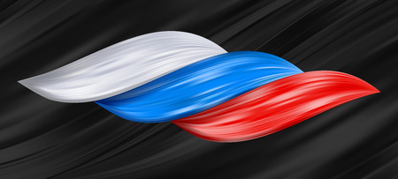 Russia flag as realistic hair swirl. Color flow splash vector illustration. Detailed volume wave isolated on black background Paint from liquid brush. Colorful hair stairs plaited in pigtail.