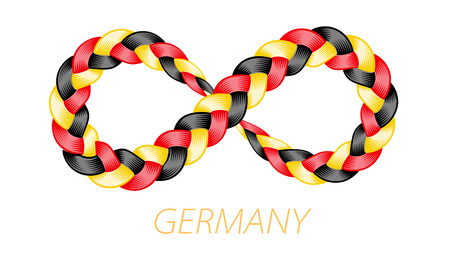 Germany flag as infinity twisted pigtail sign. Color flow from colorful weaving hairstyle isolated. Loop patriotic stripes. Vector illustration for print or web design.