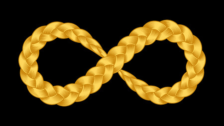Infinity symbol of ribbon plait vector illustration. Color gold ribbon braid. Pigtail bracelet. Isolated endless abstract symbol on black background. Limitless eight strip for prit or web design.