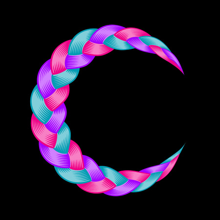 Colorful pigtail moon symbol. Beautiful hair curly wavy swirl. Color flow detailed wave isolated. Blue and purple lines plaited in pigtail. Vector illustration for print or web design.