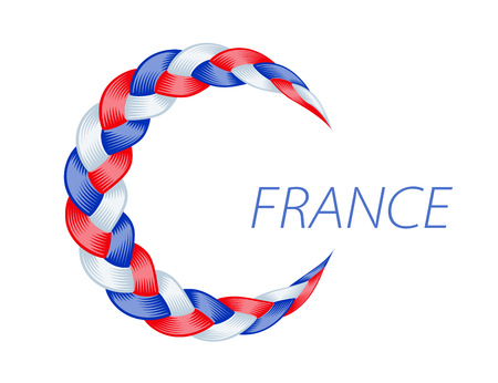 Colorful pigtail France flag. Beautiful hair curly wavy swirl. Color flow detailed wave isolated. Blue and purple lines plaited in pigtail. Vector illustration for print or web design. Ilustração