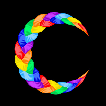 Colorful pigtail moon rainbow symbol. Beautiful hair curly wavy swirl. Color flow detailed wave isolated. Rainbow lines plaited in pigtail. Vector illustration for print or web design. Illustration
